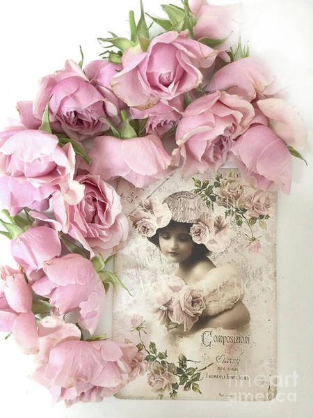 Wall Art - Photograph - Shabby Chic Pink Roses Victorian Vintage French Parisian Girl - Romantic Roses Flowers by Kathy Fornal