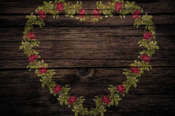 Painting - Shabby Chic Red Roses Heart On Wood by Shabby Chic and Vintage Art