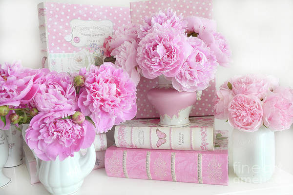 Wall Art - Photograph - Shabby Chic Romantic Peony Flowers Books Print Wall Decor  by Kathy Fornal