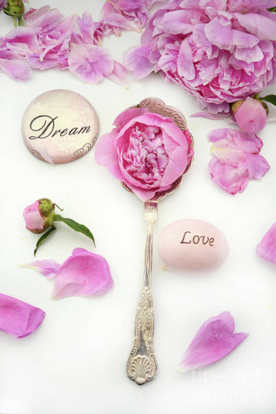 Wall Art - Photograph - Shabby Chic Romantic Pink Peonies Dream Love Vintage Spoon Wall Art Home Decor by Kathy Fornal