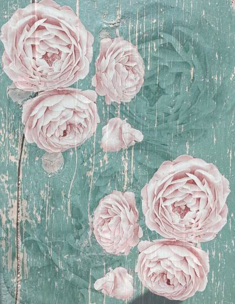 Shabby Chic Roses Distressed Art Print