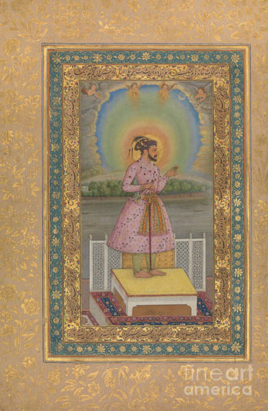 Wall Art - Painting - Shah Jahan On A Terrace, Holding A Pendant Set With His Portrait, Folio From The Shah Jahan Album by Chitarman