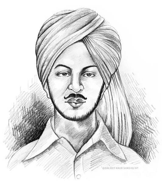 Singh Drawing - Shaheed Bhagat Singh by Daljeet  Kaur