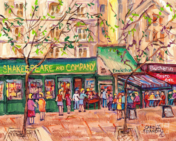 Painting - Shakespeare And Company Paris Book Shop Painting French Cafe Bookstore C Spandau Original City Scene by Carole Spandau