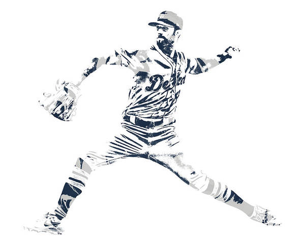 Wall Art - Mixed Media - Shane Greene Detroit Tigers Pixel Art 1 by Joe Hamilton