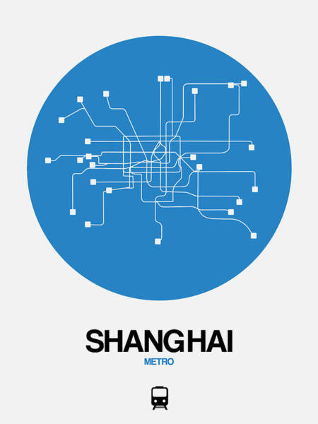 Wall Art - Digital Art - Shanghai Blue Subway Map by Naxart Studio