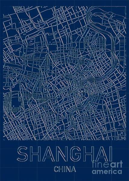 Digital Art - Shanghai Blueprint City Map by Helge