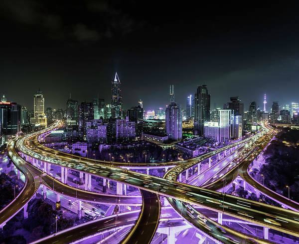 Photograph - Shanghai Busy Road Intersection At Night by Martin Puddy