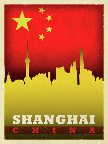 Wall Art - Mixed Media - Shanghai China City Skyline Flag by Design Turnpike