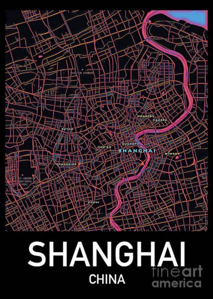 Digital Art - Shanghai City Map by Helge