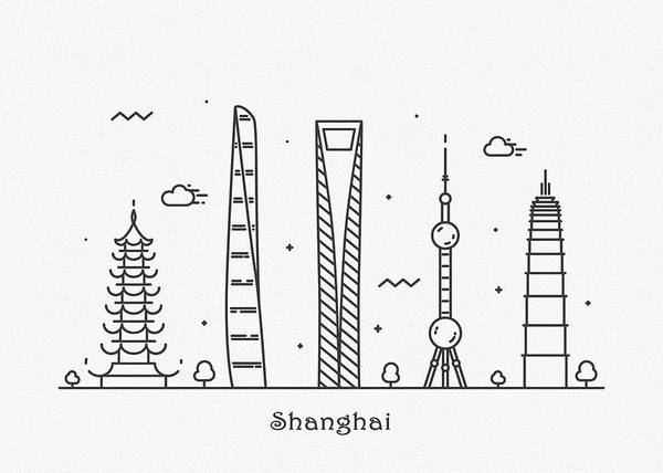 Drawing - Shanghai Cityscape Travel Poster by Inspirowl Design
