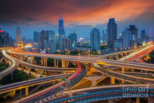 Wall Art - Photograph - Shanghai Elevated Road Junction And by Anek.soowannaphoom