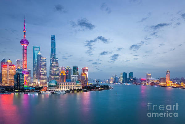 Wall Art - Photograph - Shanghai In Nightfall, Beautiful by Chuyuss