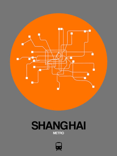 Wall Art - Digital Art - Shanghai Orange Subway Map by Naxart Studio