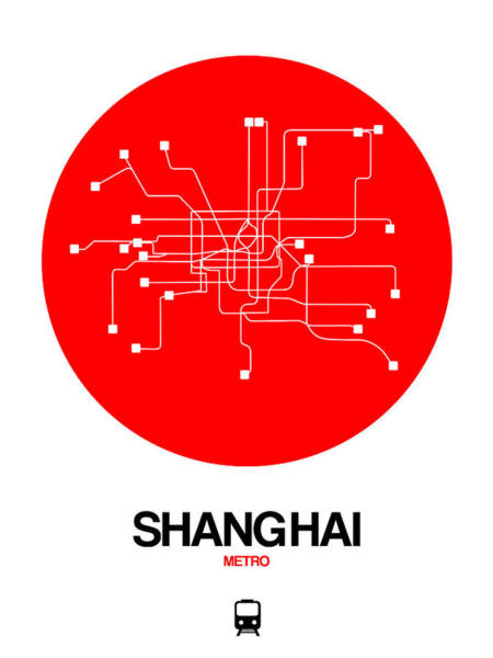 Wall Art - Digital Art - Shanghai Red Subway Map by Naxart Studio