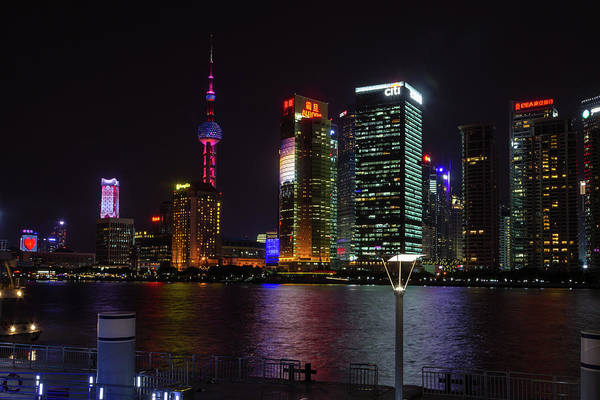 Photograph - Shanghai Skyline At Night by Aashish Vaidya