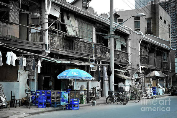 Wall Art - Photograph - Shanghai Street Blue by Delphimages Photo Creations