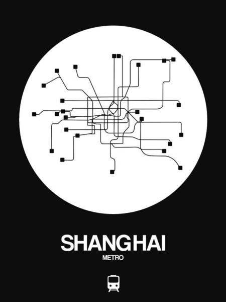 Wall Art - Digital Art - Shanghai White Subway Map by Naxart Studio