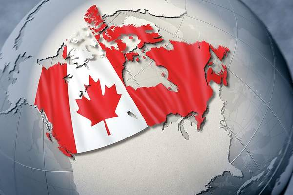 Spots Digital Art - Shape And Ensign Of Canada On A Globe by Dieter Spannknebel