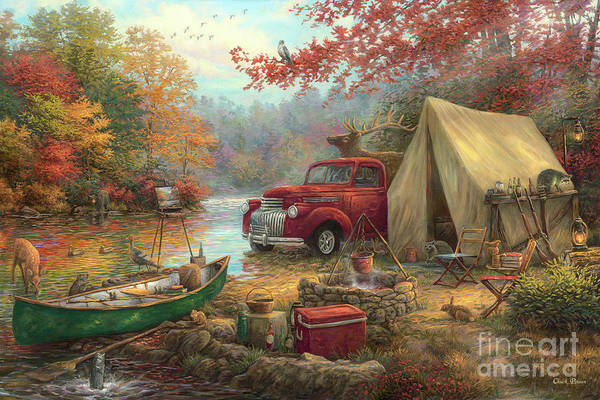 Camping Wall Art - Painting - Share The Outdoors by Chuck Pinson