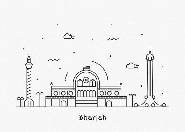 Wall Art - Drawing - Sharjah Cityscape Travel Poster by Inspirowl Design