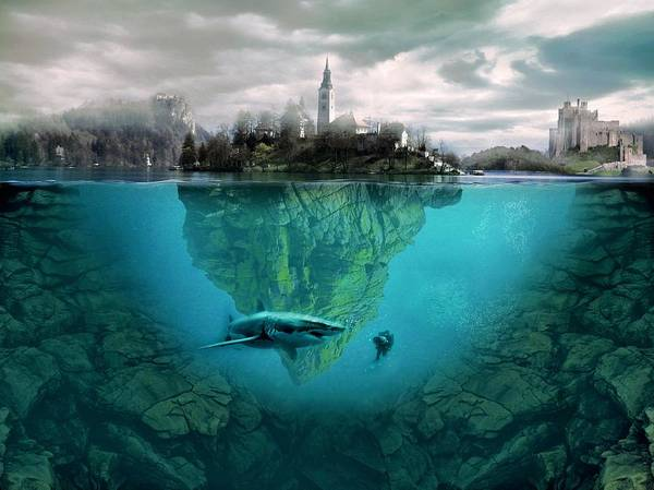 Courage Digital Art - Shark Island by ArtMarketJapan