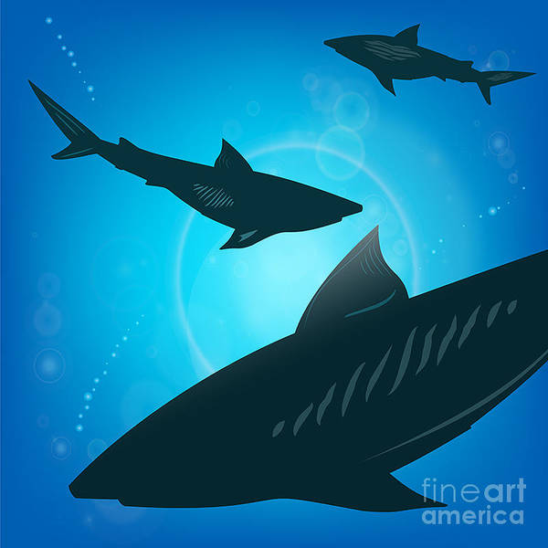 Wall Art - Digital Art - Sharks Under Water. Fish In Ocean by Zhukov
