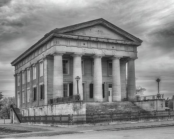 Photograph - Shawneetown Bank In Black And White by Susan Rissi Tregoning