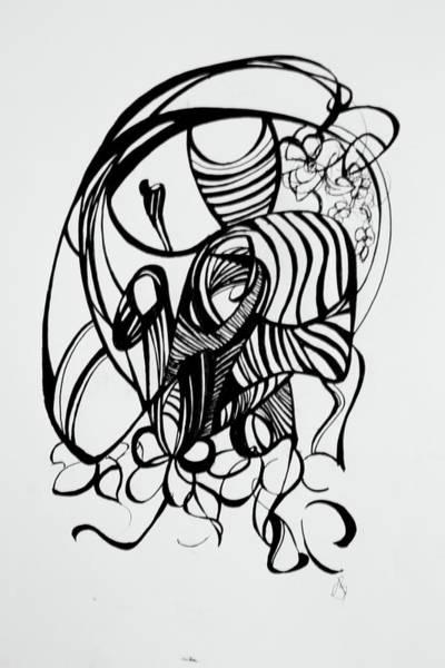 Wall Art - Drawing - She Hears Flowers by Autumn Bear