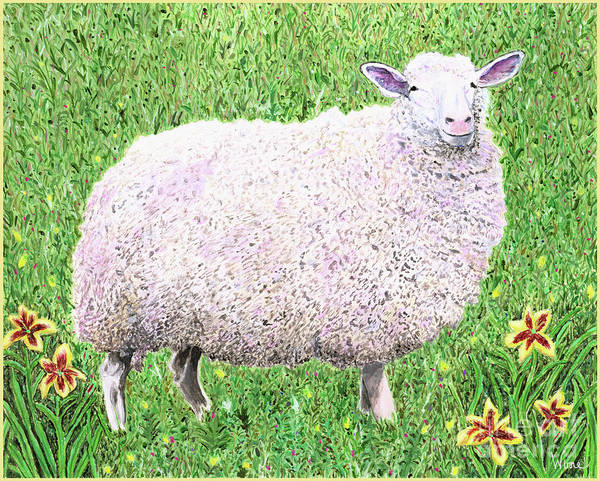 Painting - Sheep With Lilies by Lise Winne