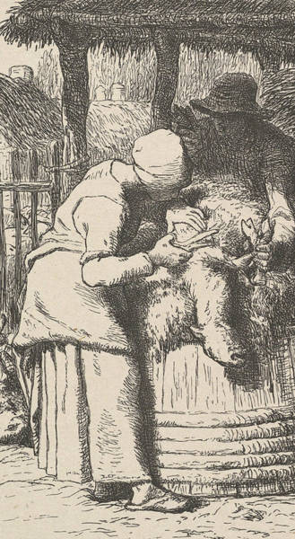 Relief - Sheepshearing by Jean-Francois Millet
