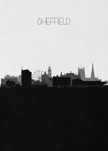 Wall Art - Digital Art - Sheffield Cityscape Art by Inspirowl Design