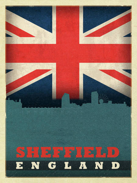 Wall Art - Mixed Media - Sheffield England City Skyline Flag by Design Turnpike