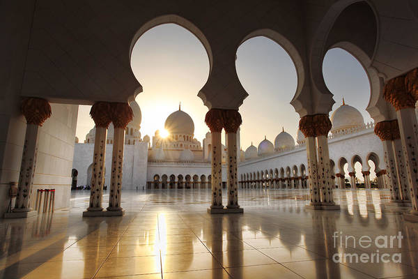 East Asia Wall Art - Photograph - Sheikh Zayed Mosque In Abu Dhabi by Samot