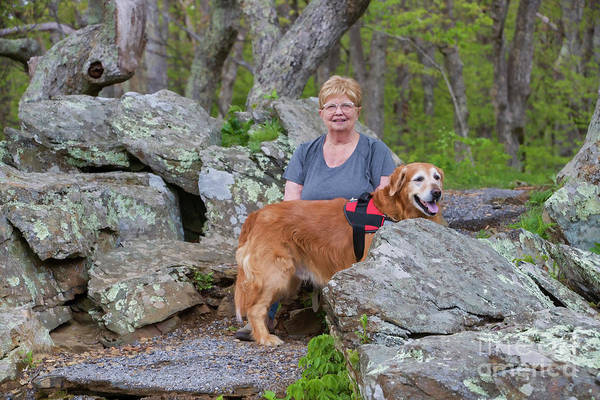 Wall Art - Photograph - Sheila And Gus In Rocks At Shenandoah National Park 5 10 2019 5955t2 by Doug Berry