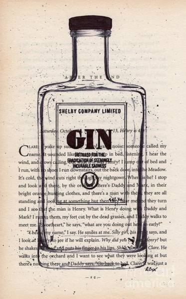 Wall Art - Drawing - Shelby Company Gin Bottle Drawing / Sketch / Illustration Onto Vintage Book Page by R Bex