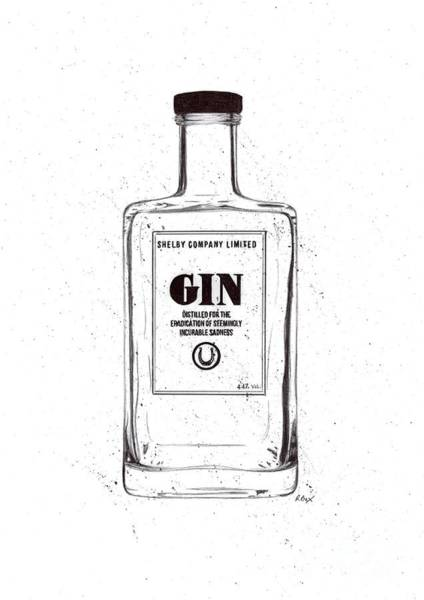Wall Art - Drawing - Shelby Company Gin Bottle Illustration / Drawing / Sketch  by R Bex