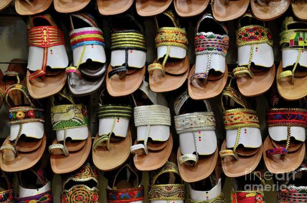 Photograph - Shelf Of Leather Hand Made Colorful Pakistani Sandal Shoes Karachi Pakistan by Imran Ahmed
