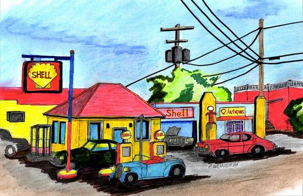 Gas Station Drawing - Shell by Paul Meinerth