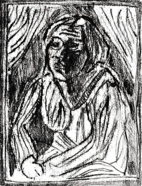 Drawing - Shelley Under Curtains by Artist Dot