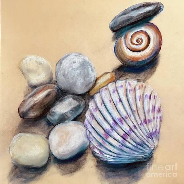 Wall Art - Pastel - Shells And Pebbles  by Lavender Liu