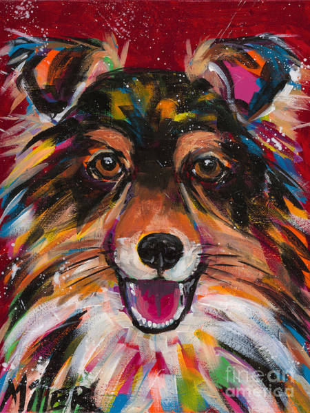 Wall Art - Painting - Sheltie Smile by Tracy Miller