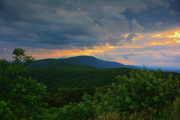Photograph - Shenandoah National Park Hogback Mountain At Sunset Horizontal by Raymond Salani III