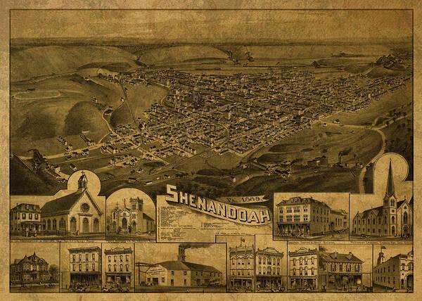 Shenandoah Wall Art - Mixed Media - Shenandoah Pennsylvania Vintage City Street Map 1889 by Design Turnpike