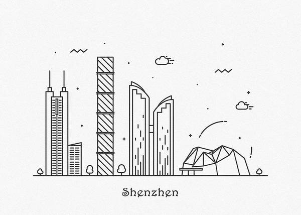 Drawing - Shenzhen Cityscape Travel Poster by Inspirowl Design