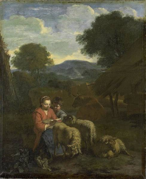 Wall Art - Painting - Shepherdess Reading by MotionAge Designs