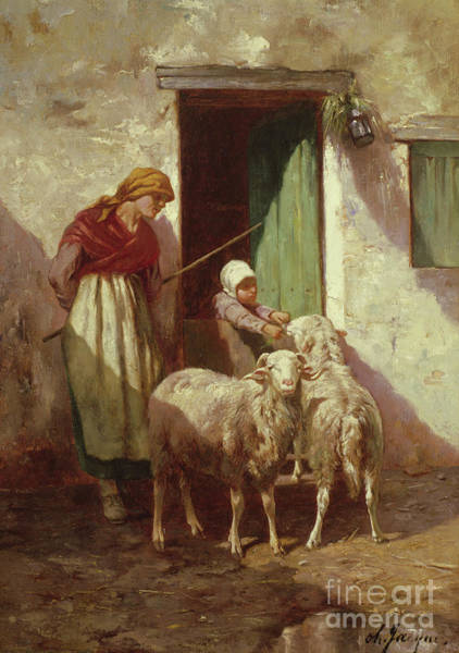 Wall Art - Painting - Shepherdess With A Child And Two Sheep by Charles Emile Jacque