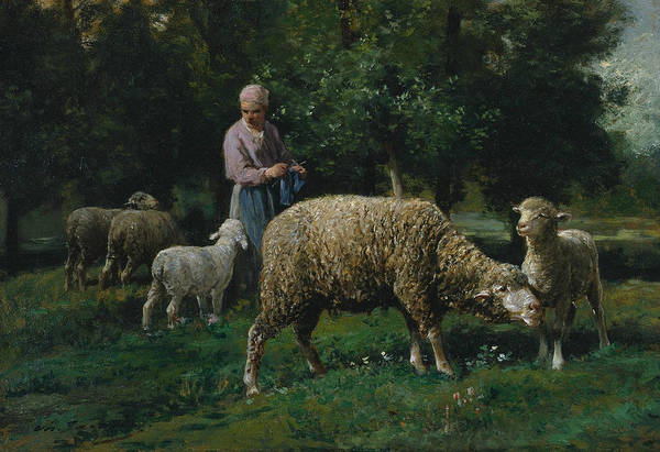 Painting - Shepherdess With Sheep by Charles Jacque