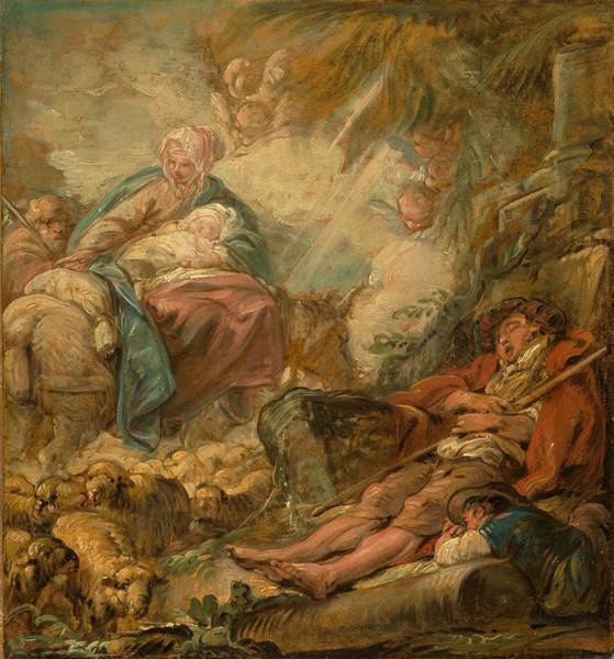 Painting - Shepherds Dreaming Of The Flight Into Egypt by Jean-Baptiste-Henri Deshays