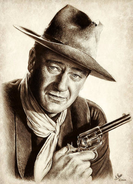 Wall Art - Drawing - Sheriff John T Chance by Andrew Read